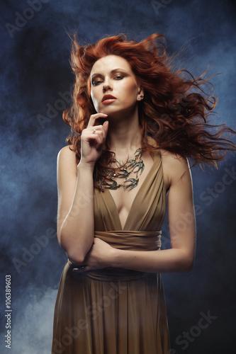 woman with bright red curly hair Tapéta, Fotótapéta