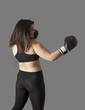 Young woman practice kickbox