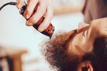 Professional barber cutting beard of pleasant man