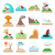 Natural disaster icons set, cartoon style