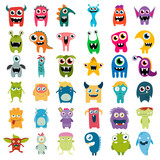 Fototapeta Dino - big vector set of cartoon cute monsters