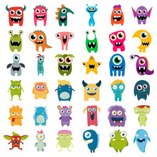 Big Vector Set Of Cartoon Cute...