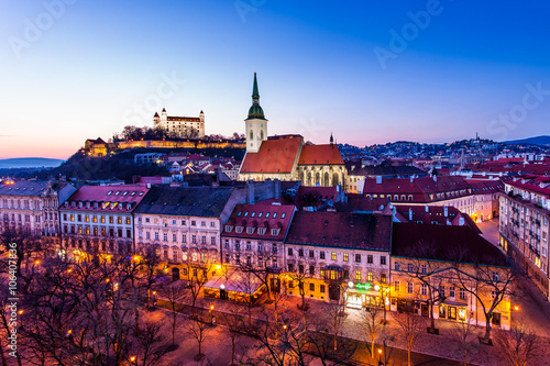 Night panorama of Bratislava city Canvas Print