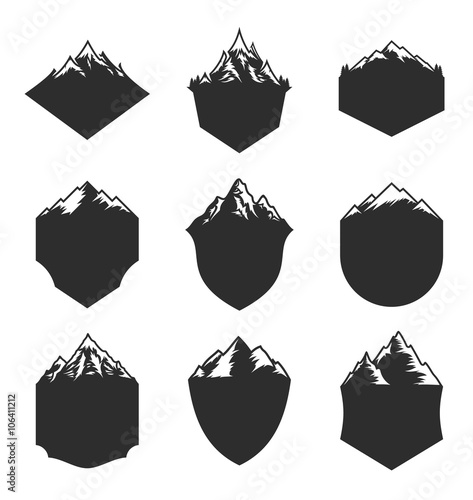 Vector Mountain Blank Badges Isolated on White Wall mural