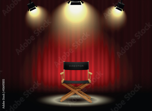 background curtain and director's chair with spotlight Poster Mural XXL