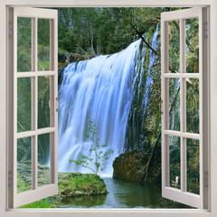 Panel Szklany Wodospad Open window to Guide Falls, Alpaca Park, North West of Tasmania just outside Burnie, Auastralia
