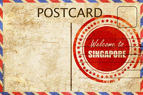 Photo  Vintage postcard Welcome to singapore