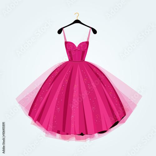 Valokuva Pink party dress.Prom dress.Vector illustration