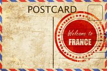 Vintage Postcard Welcome To France