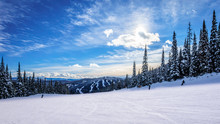 Skiing Down Smooth Slopes Under Blue Sky In The High Alpine Ski Area At Sun Peaks In The Shuswap Highlands Of Central British Columbia, Canada