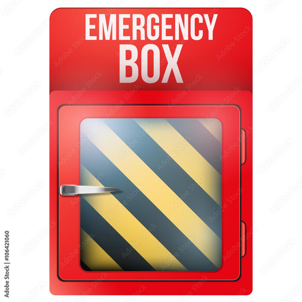 Empty Red Box With In Case Of Emergency Foto Poster Wandbilder Bei