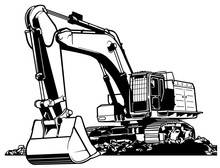 Excavator Black And White Outl...