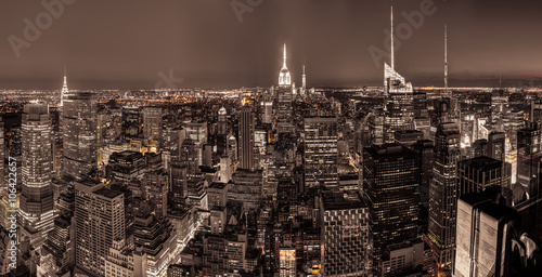 New York City with skyscrapers after sunset