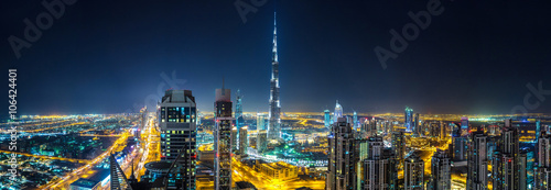 Fotografie, Obraz  Panorama of Dubai at night