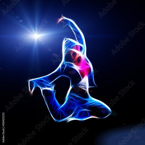Valokuvatapetti Female hip-hop dancer jump in the dark
