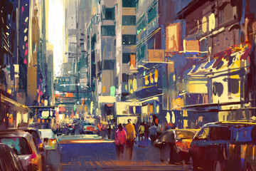 Fototapetacolorful painting of people walking on city street,cityscape illustration
