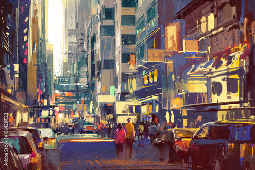 Fotografering  colorful painting of people walking on city street,cityscape illustration
