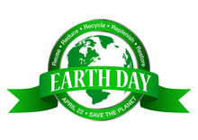 Earth Day Icon Isolated On White Background