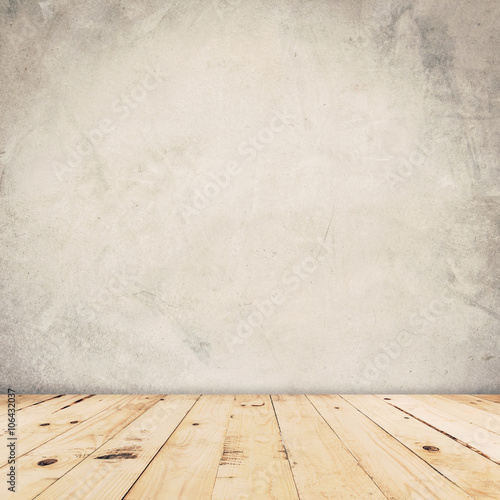 Foto op Plexiglas Wand Cement wall background and wood floor with space