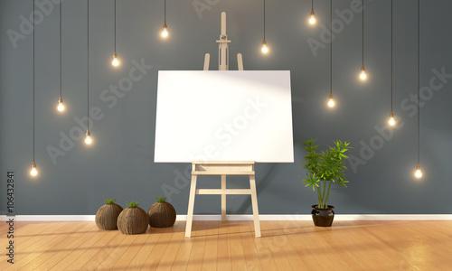 Photo  Modern bright interior . 3D rendering