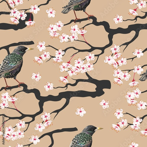 Cotton fabric Branch of blooming cherry seamless