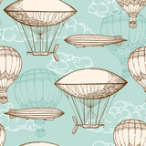 Vintage seamless pattern with air balloons - 106436445