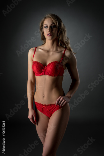 683dca3ea5b Underwear catalog. Sexy model in hot pink lingerie - Buy this stock ...