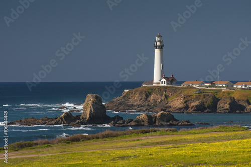 Foto op Aluminium Vuurtoren Pigeon Point Lighthouse. Perched on a cliff on the central California coast, 50 miles south of San Francisco, the 115-foot Pigeon Point Lighthouse has been guiding mariners since 1872.