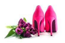 Ladies Pink High Heel Shoes An...
