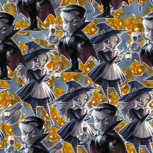 Materiał do szycia Seamless repeated background with Halloween illustration
