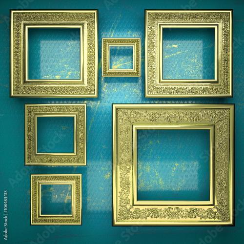 Fototapeta golden background painted in blue obraz na płótnie