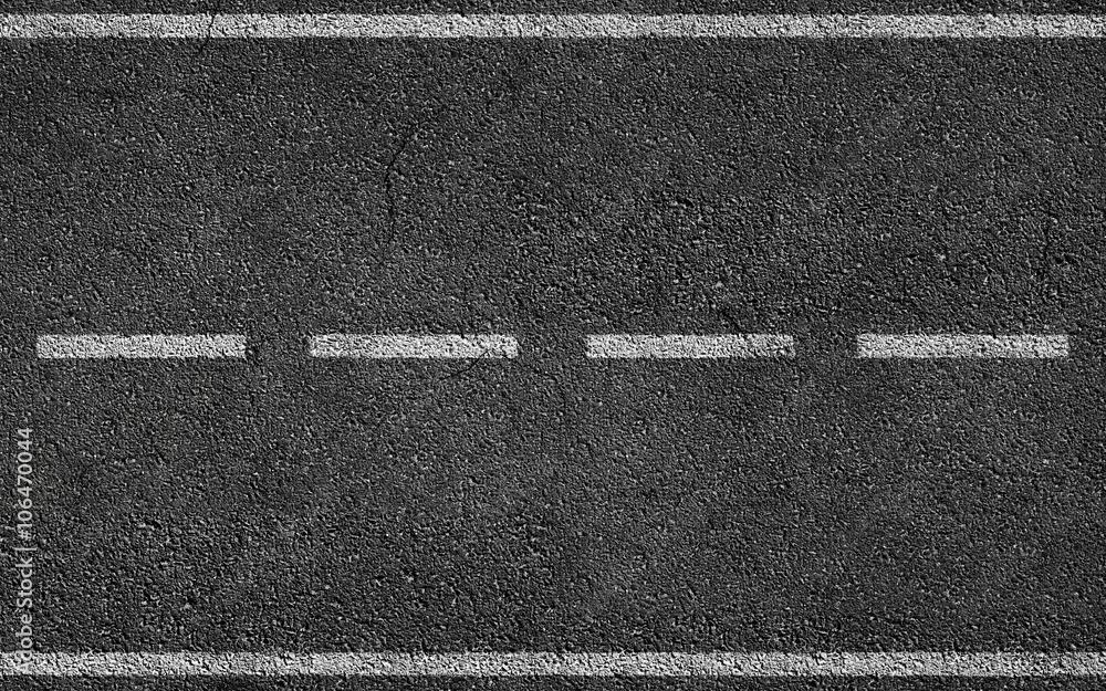 Fototapeta White Stripes On Asphalt Road