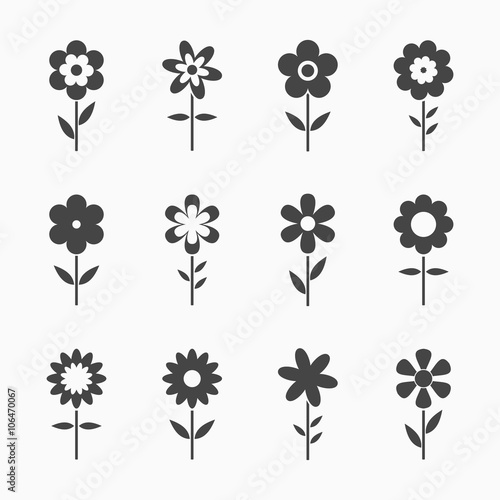 In de dag Abstractie Art Black Flowers icons isolated on white background. Set of colorful floral icon. Flowers icons in flat dasing style