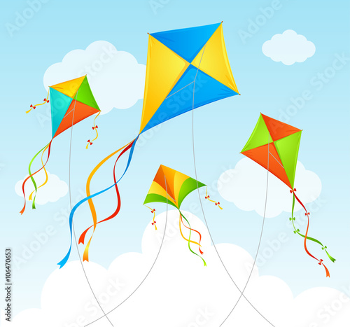 Fly Kite Summer Background. Vector Canvas Print