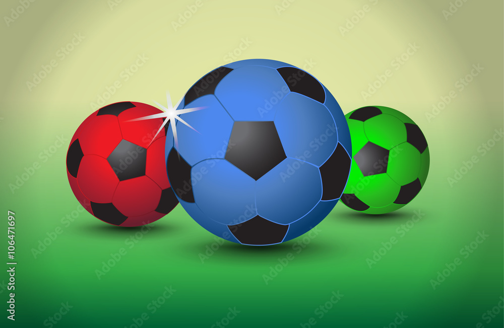 Fotografía Set of colorful soccer balls on light background, vector