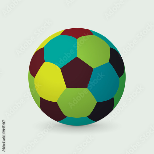 Unique colorful soccer ball, vector Canvas Print