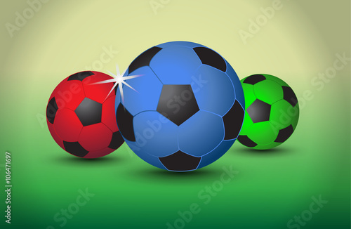 Set of colorful soccer balls on light background, vector Canvas Print