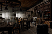 Wild West Saloon 3D-illustrati...