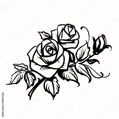 Roses. Black outline drawing on white background #106475635