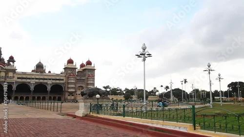 Fotografie, Obraz  Pan shot of Mysore Palace, Mysore, Karnataka, India
