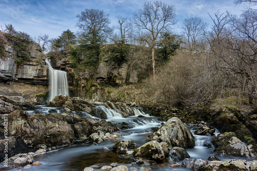 Foto auf Gartenposter Wasserfalle Wide angle view of Thornton Force Waterfall in the Yorkshire Dales National Park with small cascading waterfalls in foreground.