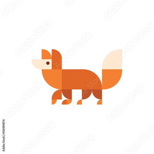 Photo  Fox animal orange design illustration logo trends modern flat icon