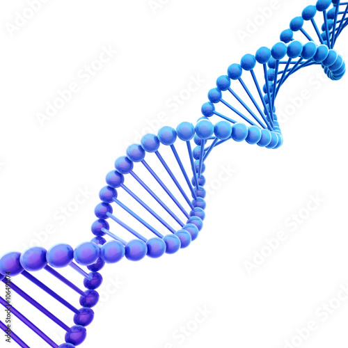 Spoed Fotobehang Spiraal Diagonal Blue DNA Helix on White