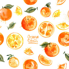 Pattern oranges painted with watercolors on white background. Halves of orange, fruit, leaves, abstract spots