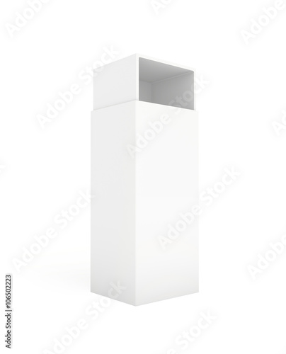 blank paper cardboard box template standing on white background