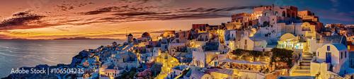 Tuinposter Santorini Santorin Panorama Abendstimmung