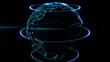 Голографическая планета земля с мерцающими бликами. Анимация петля