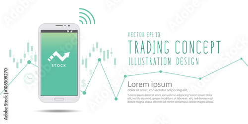 Fotografie, Obraz  Stock trading over the Internet with a mobile phone banner vecto