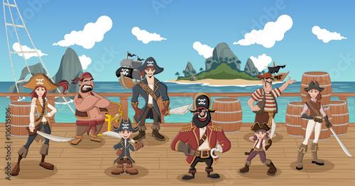 Zdjęcie XXL Grupa kreskówek piratów na pokład statku