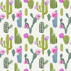 Tapeta Vector Cactus Background. Seamless Pattern. Exotic Plant. Tropic